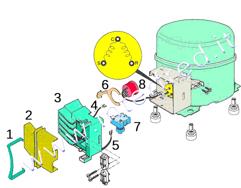 Impianto elettrico frigorifero domestico